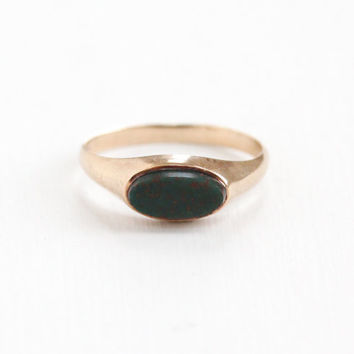 Antique 10k Rose Gold Bloodstone Ring - Vintage Edwardian 1910s Green & Red Oblong Oval Gem Size 7 Dainty Fine Jewelry