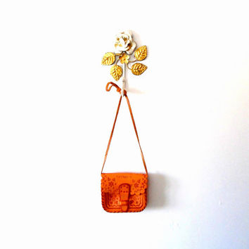 Tooled / carved / flower / moon / star / tan / suedette / strap / vintage / boho / festival / small shoulder bag