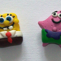 Spongebob and Patrick earrings polymer clay fimo handmade