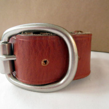 Recycled Leather Belt Bracelet, Thick Italian Saddle Leather Bracelet, Unisex Mens Leather Bracelet, Unique Jewelry Ideas, Wrap bracelet