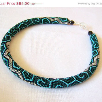 CIJ SALE Bead crochet necklace with geometric pattern - Beaded rope necklace - Handmade jewelry - Beadwork - emerald, turquoise, black and