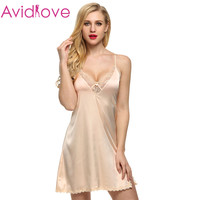 Ekouaer Brand Women Sexy Suspender Nightdress Deep V Lace Satin Sleepwear Nightgown European and American Sexy Lingerie