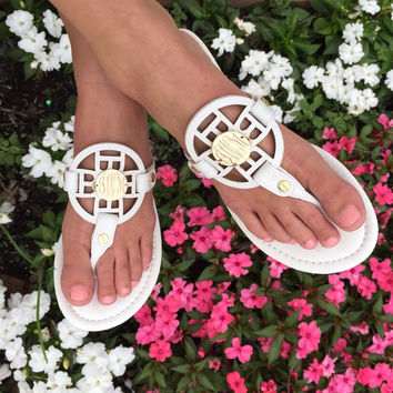 Monogram Circle Stitch Sandals – I Love Jewelry