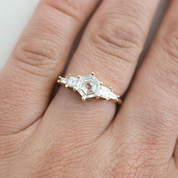 Hexagon Step–Cut Diamond Cluster Ring | Engagement Ring | 14k Recycled Gold  | One of a Kind