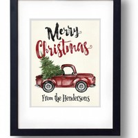 Personalized Christmas Card Custom Christmas Print Printable Christmas decor Family Name Wall art Antique Watercolor red truck Tree Digital