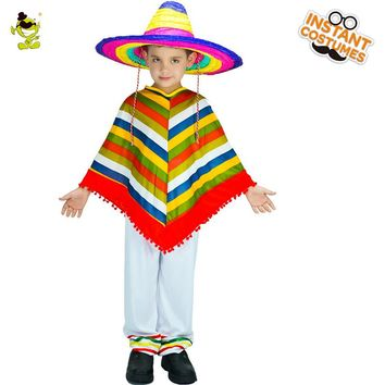 New Arrival Kids Mexican Rainbow Costume Cosplay Halloween Party Costume Imitation Mexico Cape