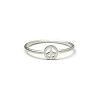 Dogeared Charmed Peace Sign Ring Sterling Silver - Size 8