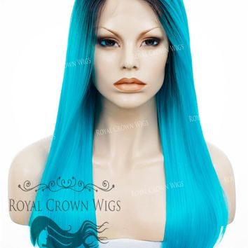 """24"""" Heat Safe Synthetic Straight Texture Lace Front """"Aphrodite"""" in Electric Blue"""