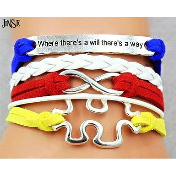 Autism Awareness Leather Bracelet Puzzle Piece InfinityWhereThere's A WillWay Bradied