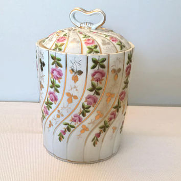 Porcelain Canister with Pink Roses, Storage Jar with Ribbon Handle, Vintage Decor Bathroom Kitchen