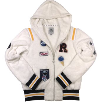 MULTI NASA SPACE PATCH RIBBED HOODIE