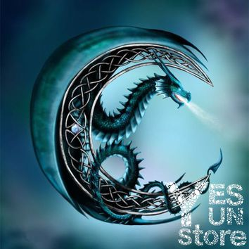 DIY Creation Paste Blue Dragon 3D Diamond Painting Cross Stitch Kit Full/100% Area Square Resin Stick Tools for Gift Room Wall H