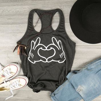Hands (Mickey Mouse)  and Love, Tank Top