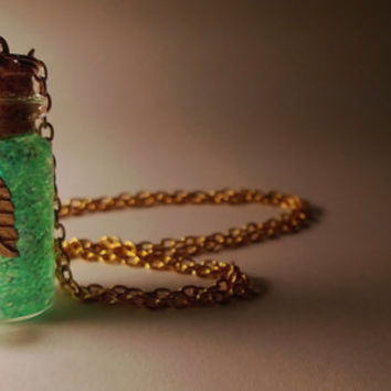 Tinkerbell  Vial Necklace - Disney Peter Pan Pixi Fairy Inspired - Handmade Corked Glass Bottle - Crystal and Gold Leaf Charm