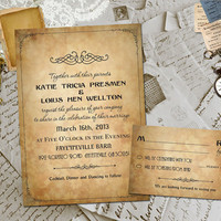 Wedding Invite and RSVP - Darchelle Vintage Elegant Personalized Card Suite