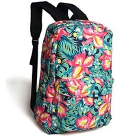 CrazyPomelo Vintage Floral Contrast Color Printing Canvas Backpack