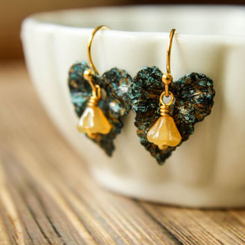 Black and Blue Patina Ivy Leaf & Czech Bellflower Earrings in Caramel