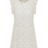 Beige Sleeveless Bodycon Lace Dress