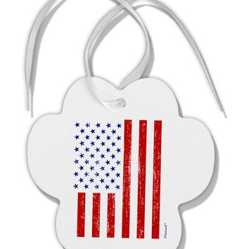 Red and Blue Stamp Style American Flag - Distressed Paw Print Shaped Ornament by TooLoud