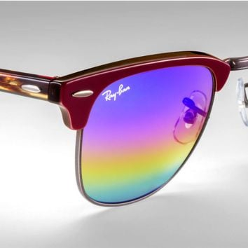 Ray Ban Clubmaster Mineral Flash Sunglasses RB3016 1222C2 Bordeaux Rainbow 51mm