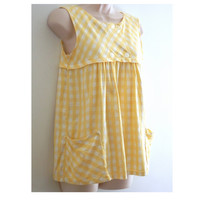 Vintage Maternity Blouse Hand Made Yellow and White Gingham
