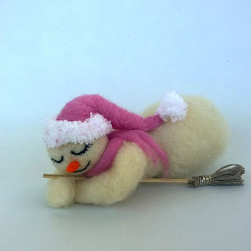 Wool Snowman ornament Needle felted snowman Christmas decoration Snowman sleeping art Handmade ornament Felt Waldorf Xmas gift Cute funny