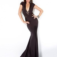 Fitted Lace Trim Gown, Style 9605