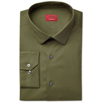 Alfani Mens Stretch Solid Button-Down Shirt