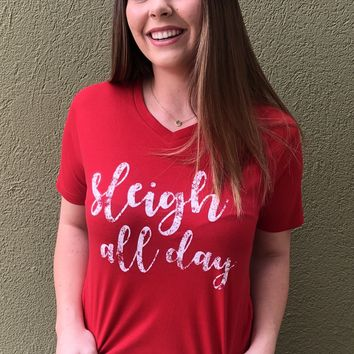 Sleigh All Day Top- Red