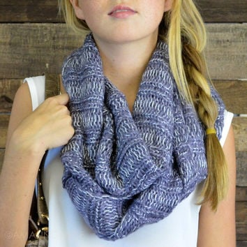 Tangled Up Dark Gray Glitter Knit Infinity Scarf