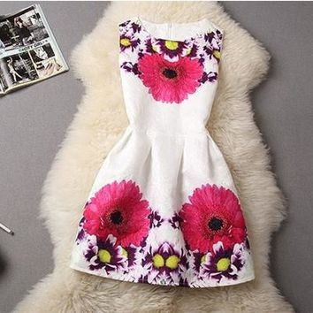 Pink Poppy Flower Printed Dress