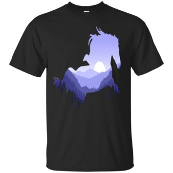Beautiful Galloping Horse Forest Mountain Silhouette T-Shirt