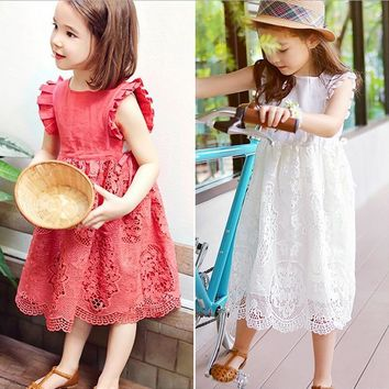 girl dress 10 years children party child princess costumes white lace summer clothes 2016 5 year old  beautiful
