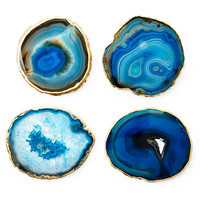 "Blue ""Ocean"" Agate 24k Gold Coasters"