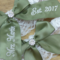 Embroidered Moss Green You're Next Bridal Garter