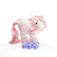 My Little Pony Pajamas Sweet Dreams Vintage G1 Pony Wear Clothes Outfit with Nightcap Hat, Curlers, Fuzzy Slippers