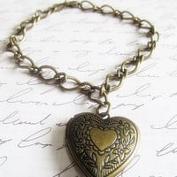 Antique Bronze Locket Bracelet