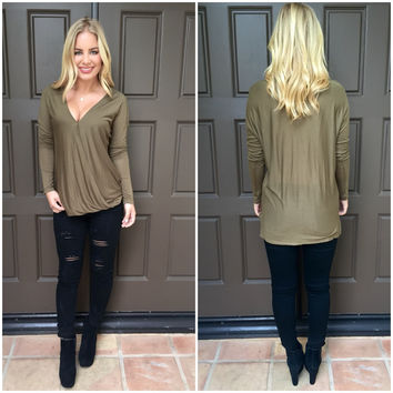 At Last Jersey Wrap Top - OLIVE