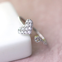 Heart love Ring Cupid Arrow Crystal Dot Infinity Ring Jewelry SilverPlated Infinite Love gift idea