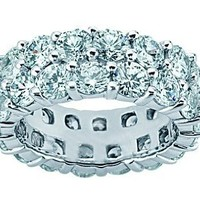4.50 ct Two Row Diamond Eternity Wedding Band Ring in Platinum
