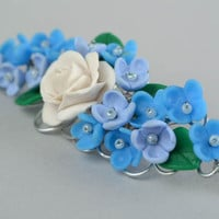 Beautiful handmade women's polymer clay flower brooch Lilac and Rose