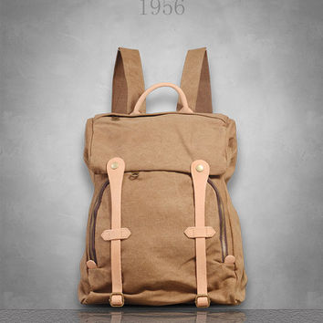New Genuine Leather and Canvas Backpack Rucksack Bag Mens Womens girl boy