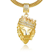 Cuccu Men 18k Real Gold Plated Crown Lion King Pendant Necklace,Cz Inlay,with FREE Fishtail hip hop Chain 30""