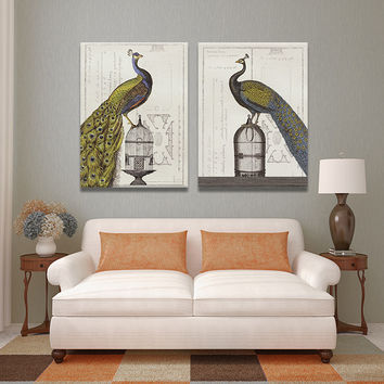 2 PIECES MODERN ABSTRACT HUGE WALL ART OIL PAINTING ON CANVAS PRINT FOR THE HIGH QUALITY BIRDS ANIMAL  FREE SHIPMENT No FRAME