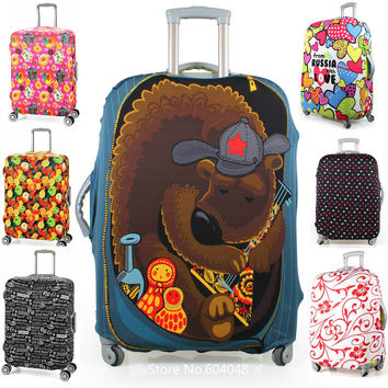 Free printed elastic polyester travel luggage cover for 20-32inch suitcase Protective Cover Travel Trunk Dirt-Proof
