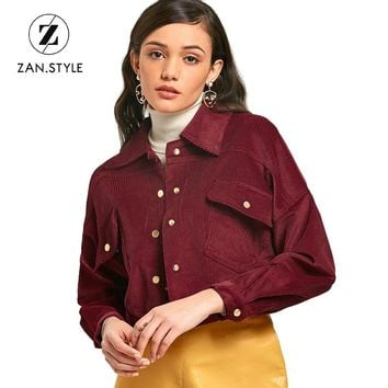 ZAN.STYLE Fashion Slim Cropped Corduroy Jacket Snap Button Up Pockets Turn Down Collar Short Coats Long Sleeves Casual Jaqueta