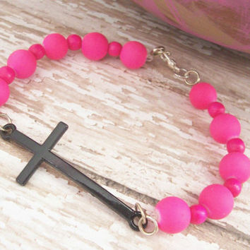 Hot Pink Christian Jewelry, Pink Cross Bracelet, Christian Jewelry For Her, Cross Bracelet, Christian Bracelet, Religious Jewelry