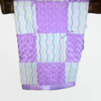 Baby Girl Quilt - Baby Chenille and Minky Swirl Quilt - Lavender Baby Quilt