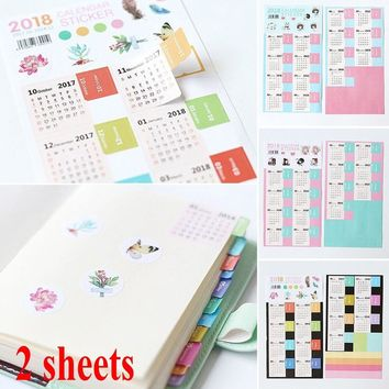 New Year 2018 Calendar Sticker Notebook Index Monthly Category Sticker Diary Planner Label Stickers Accessories 4 Pcs/pack