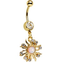 Clear Gem White Faux Opal Gold Anodized Sunburst Dangle Belly Ring